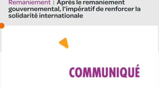 Après le remaniement gouvernemental, l'impératif de renforcer la solidarité internationale