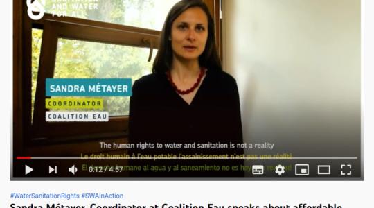 Témoignage de la Coalition Eau pour une eau abordable pour toutes et tous